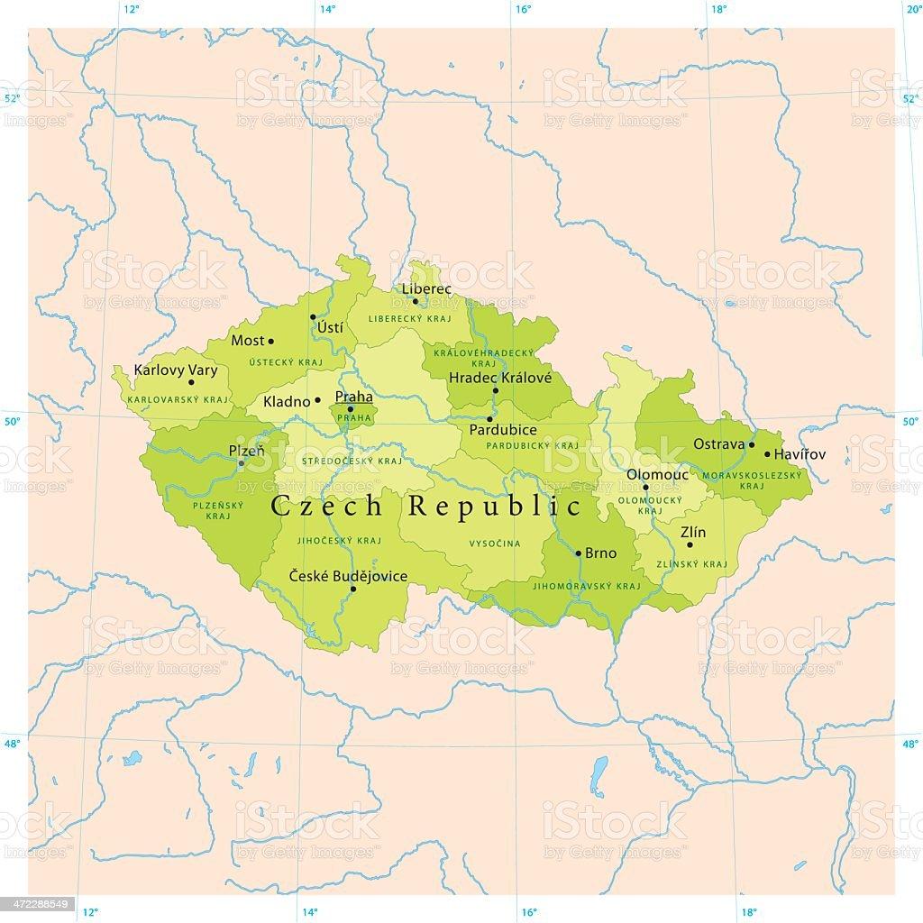 Czech Republic Vector Map royalty-free stock vector art