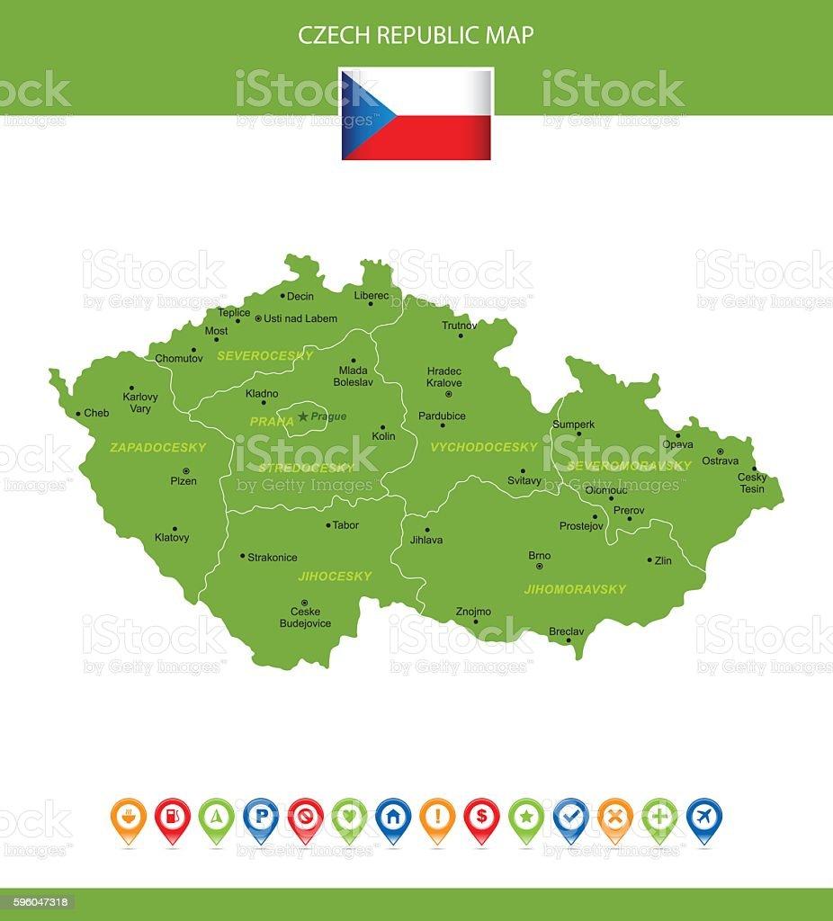 Czech Republic Vector Map royalty-free czech republic vector map stock vector art & more images of arrow symbol