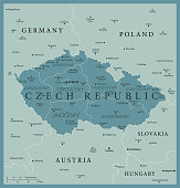 Map of Czech Republic - Vintage Vector illustration