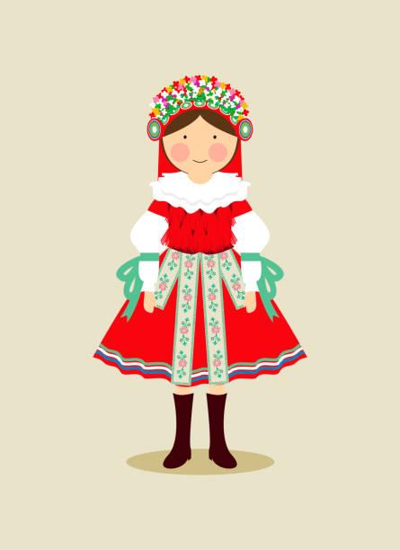 Czech traditional clothing for women vector art illustration