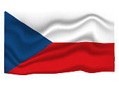 Czechia Flag Icon. National Flag Banner. Cartoon Vector illustration.