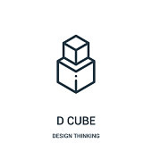 d cube icon vector from design thinking collection. Thin line d cube outline icon vector illustration.