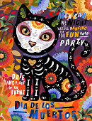 Día de los Muertos, Mexican holiday Day of the Dead and Halloween. Vector illustration of Calavera cat skeleton on floral background for poster, card or background