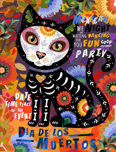 Día de los Muertos, Mexican holiday Day of the Dead and Halloween. Vector illustration of Calavera cat skeleton on floral background for poster, card or background Día de los Muertos, Mexican holiday Day of the Dead and Halloween. Vector illustration of Calavera cat skeleton on floral background for poster, card or background cat skeleton stock illustrations