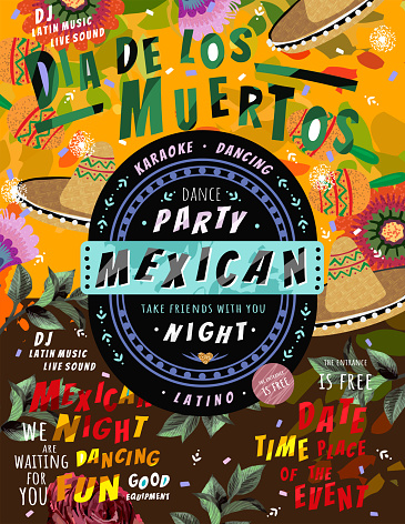 Día de los Muertos, Mexican holiday Day of the Dead and Halloween. Vector illustration of a background for a poster, banner or flyer for a Mexican party or dance music night.