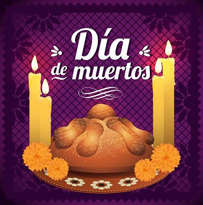 Día de Muertos (Day Of The Dead in Spanish) Altar Composition - Copy Space