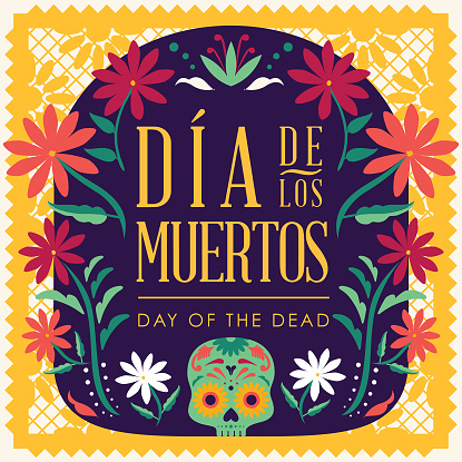 Día de Muertos (Day Of The Dead in Spanish) Floral Composition - Copy Space