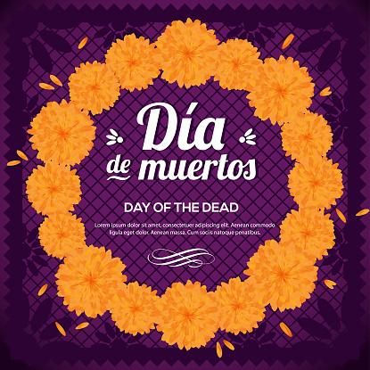 Día de Muertos (Day Of The Dead in Spanish)  Marigold Wreath - Copy Space Composition