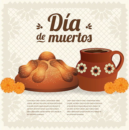 Día de Muertos (Day Of The Dead in Spanish) Offering Composition - Copy Space