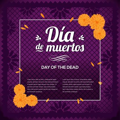 Día de Muertos (Day Of The Death in Spanish) Purple Composition - Copy Space