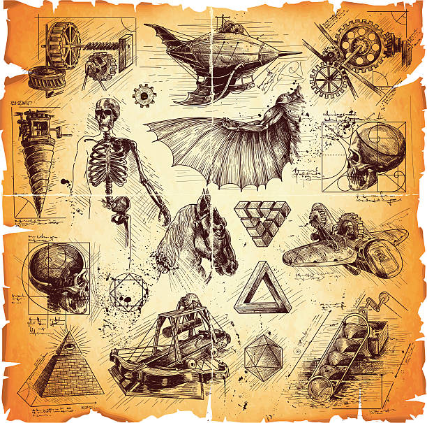 da vinci style drawings - freemasons stock illustrations