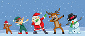 istock Dabbing Christmas Cartoon Characters Funny Banner 1193307900
