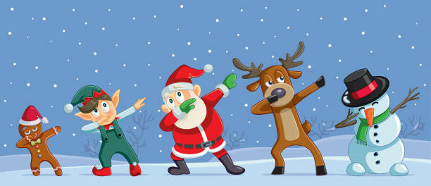 Dabbing Christmas Cartoon Characters Funny Banner Cool Santa dancing with his friends outdoors funny christmas stock illustrations