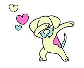 Dabbing dog. Vector Designdancing dog. dab dance