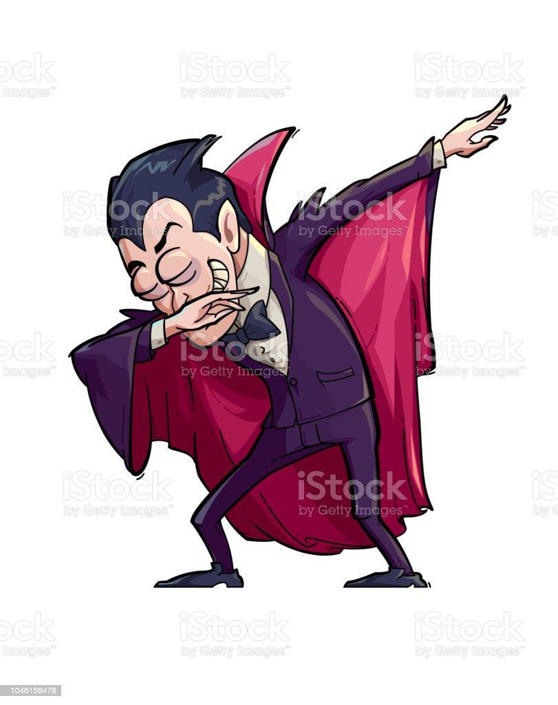 Dabbing Dracula vector art illustration