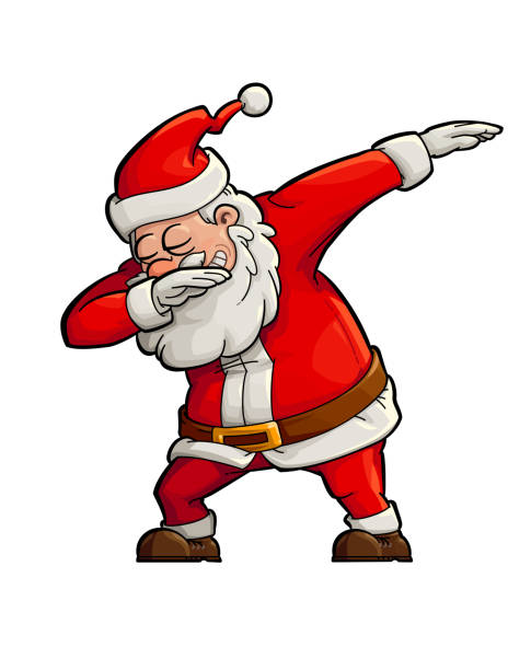 Dabbing Santa vector art illustration