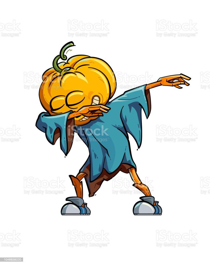 Dabbing Scarecrow vector art illustration