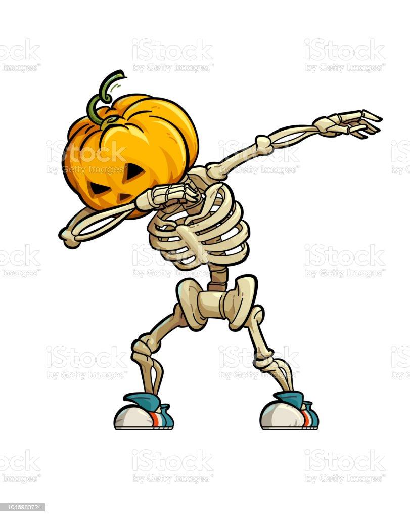Dabbing Skeleton Scarecrow vector art illustration