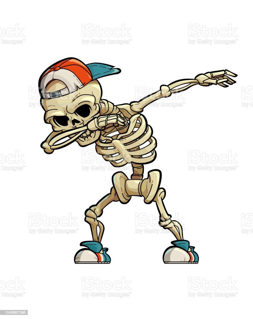 Dabbing Skeleton vector art illustration