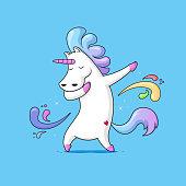 Dabbing Unicorn - Cute funny unicorn dancing dab vector cartoon illustration