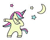 Dabbing Unicorn with stars. Vector Design. dab dance