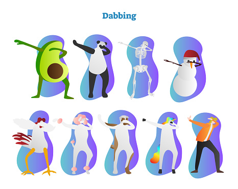 Dabbing vector illustration. Avocado, panda, skeleton and snowman Frosty is dropping head in bent crook. Chicken, unicorn and human is showing famous hiphop dance move.