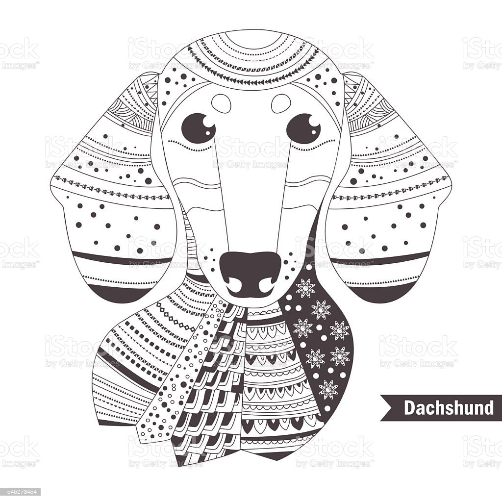 Dachshund Coloring Book For Stock Illustration - Download Image