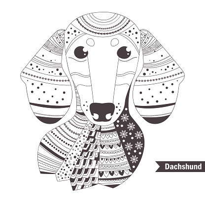 Dachshund. Coloring book for