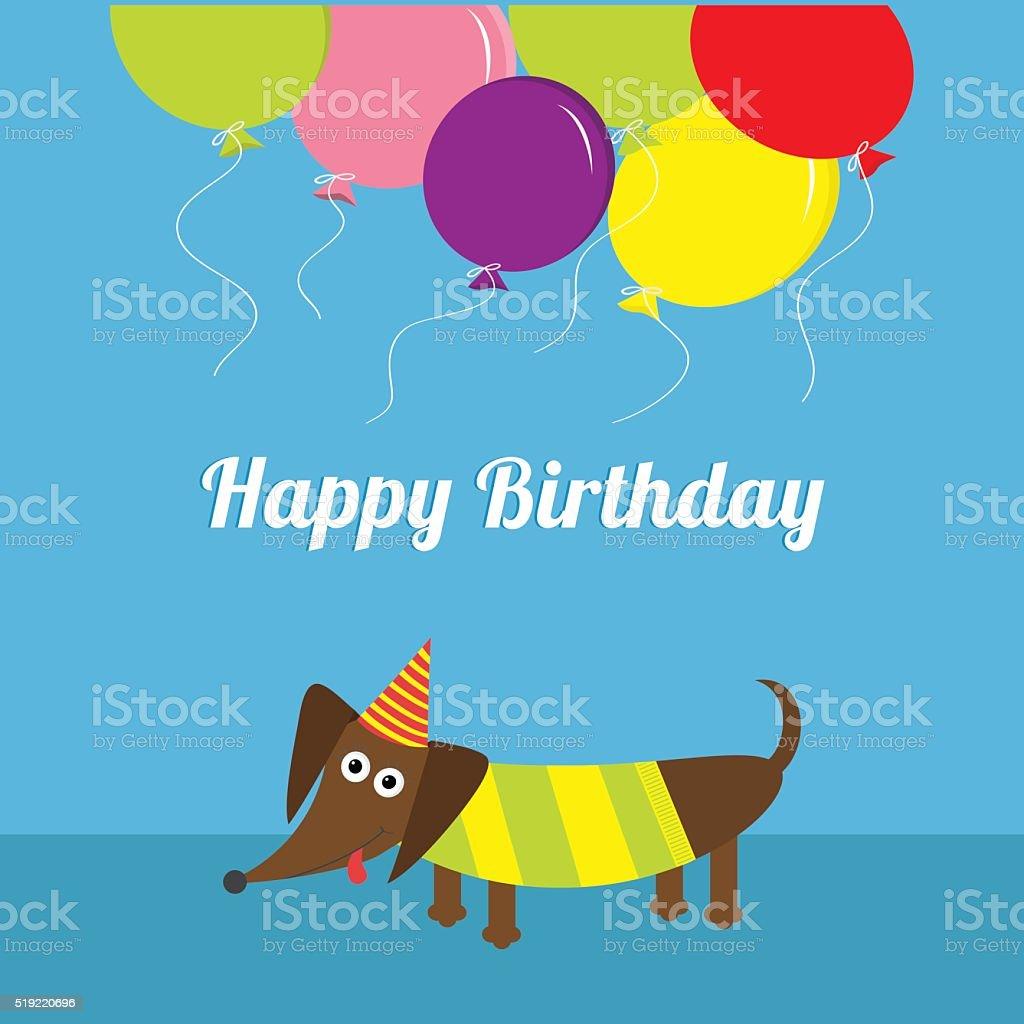 Dackel Hund Ballons Und Mutze Alles Gute Zum Geburtstag Grusskarte