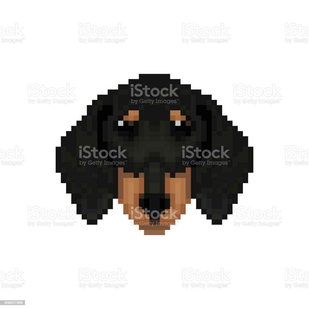 Dachshund Dog Head In Pixel Art Style Vector Illustration