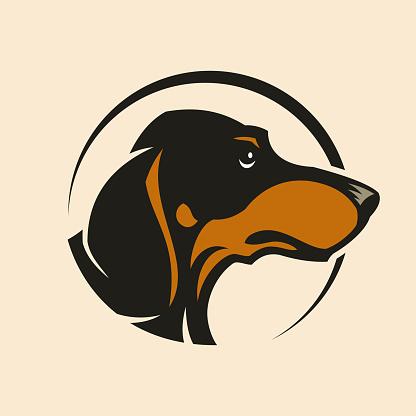 Dachshund dog head sign mascot in circle