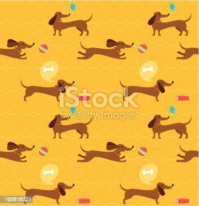 istock Dachshund dog seamless pattern 165818321