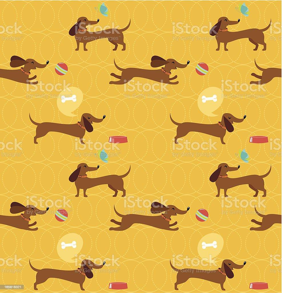 Dachshund dog seamless pattern vector art illustration
