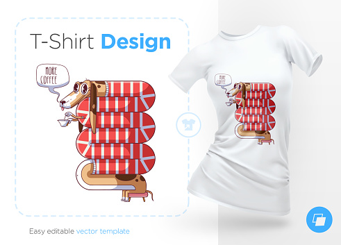 Dachshund drinking tea. Prints on T-shirts, sweatshirts, cases for mobile phones, souvenirs.