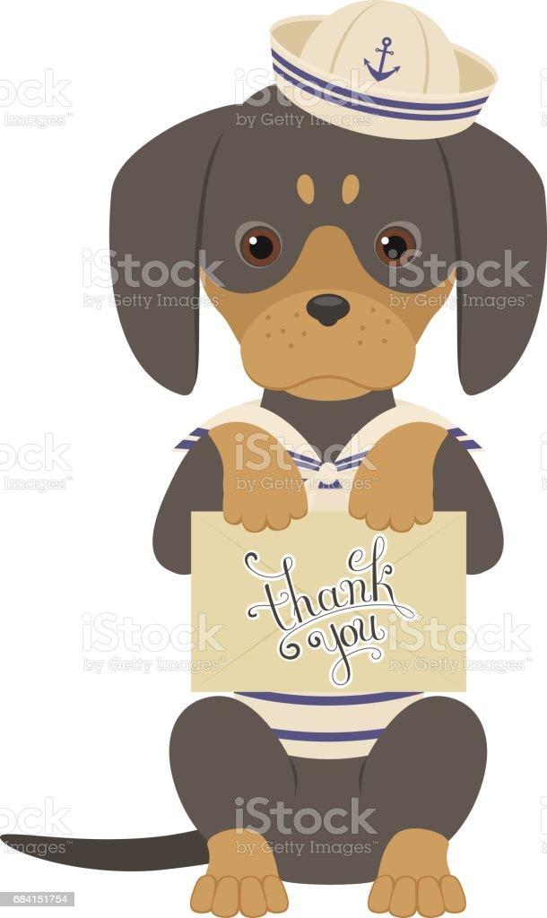 Dachshund holds an envelope wtih Thank You note. royaltyfri dachshund holds an envelope wtih thank you note-vektorgrafik och fler bilder på abstrakt
