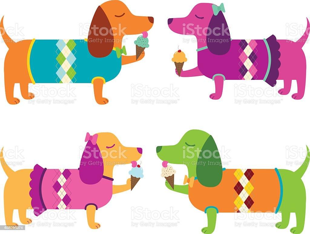 Dachshunds Eating Ice Cream Cones vector art illustration