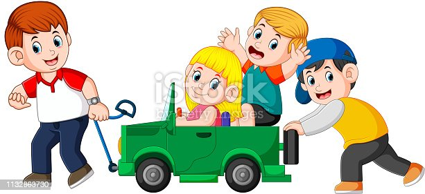 915609494istockphoto Dad and his child playing with big toy car 1132863730