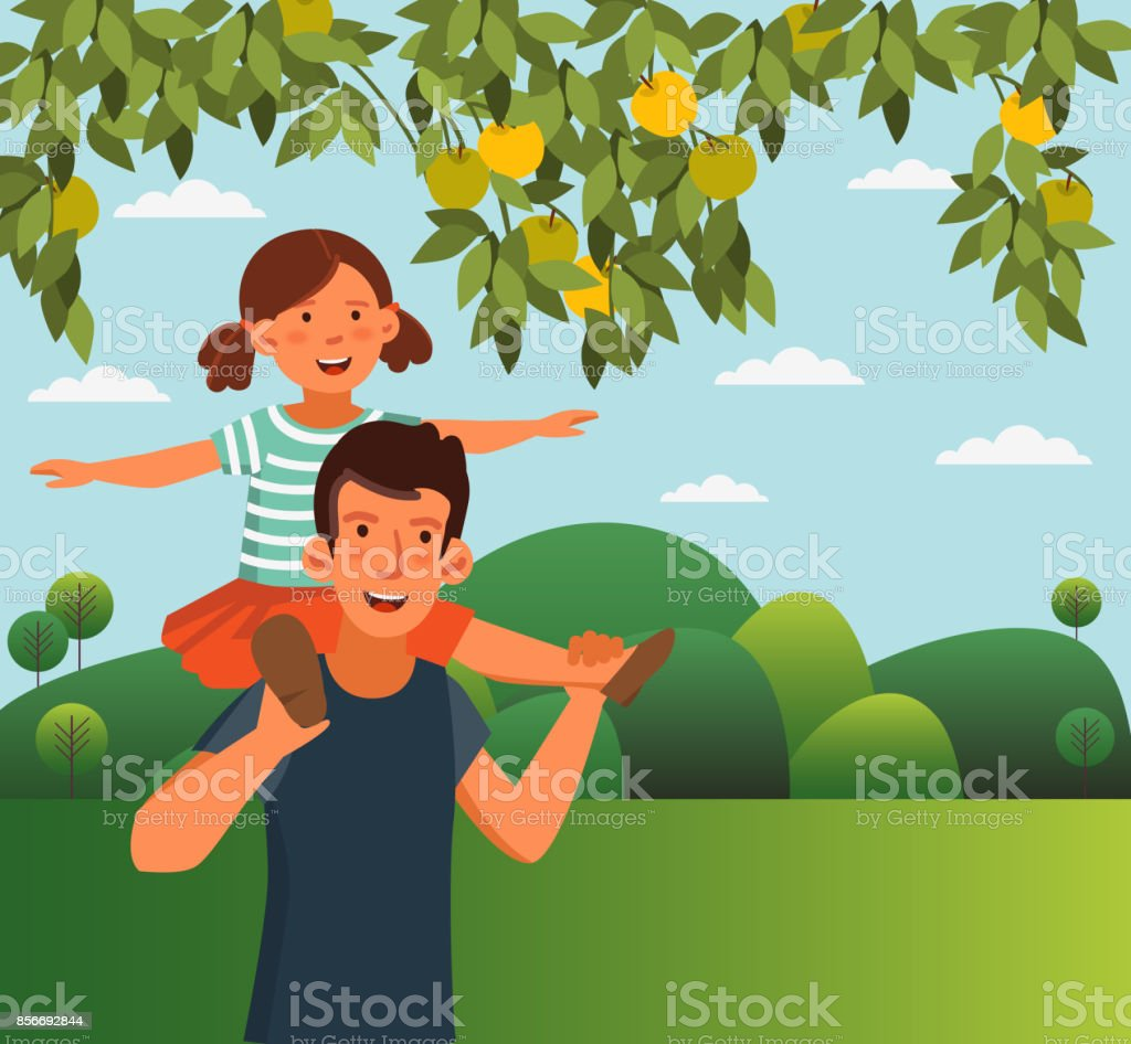 Dad and his daughter, having fun. Happy family vector concept. Cute girl sits on the shoulders of her father. Summer landscape background vector art illustration