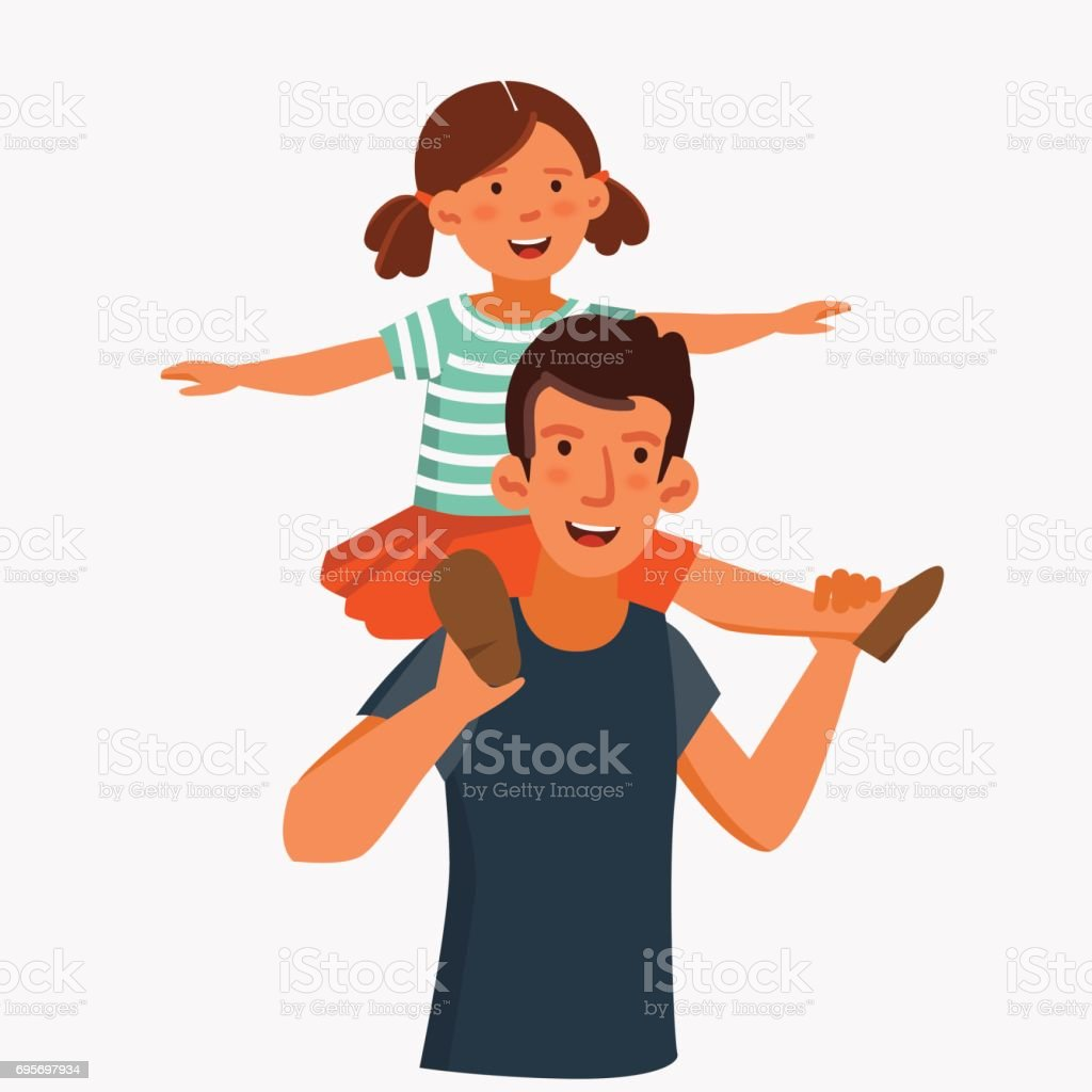 Dad and his daughter, having fun. Happy family vector concept vector art illustration