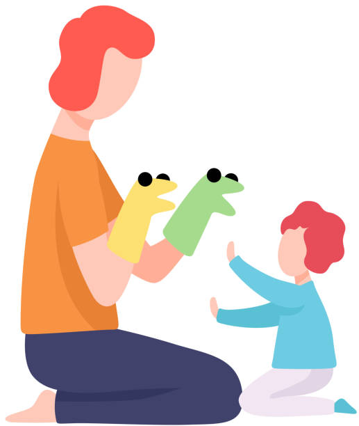 dad and his son having fun with puppet toys, father having good time with his kid vector illustration - kukiełka stock illustrations