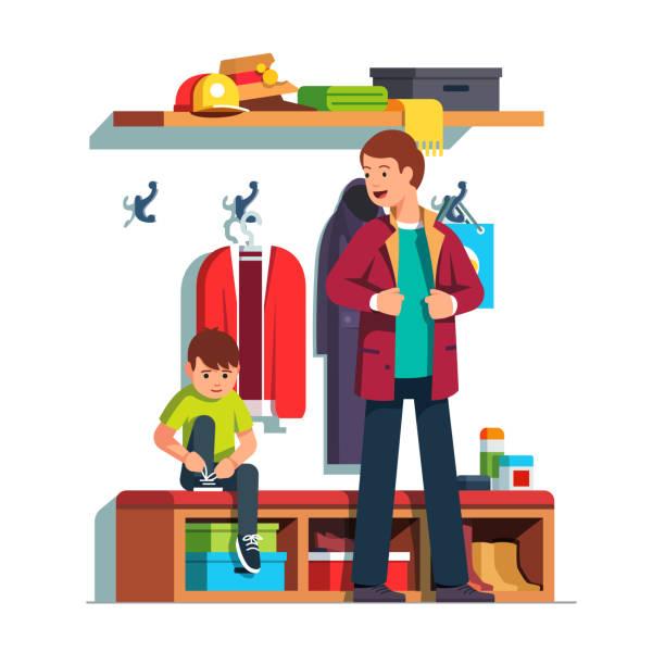 papa und kind kleidung kleidung in halle zusammen - schuhe für sport und freizeit stock-grafiken, -clipart, -cartoons und -symbole