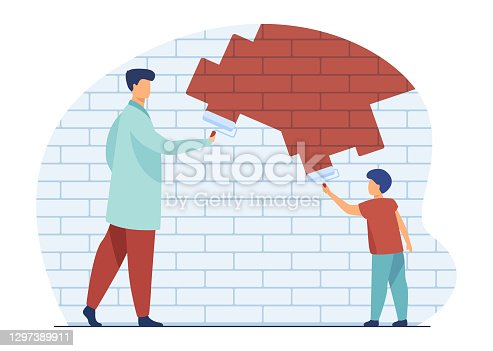 Dad and kid painting wall