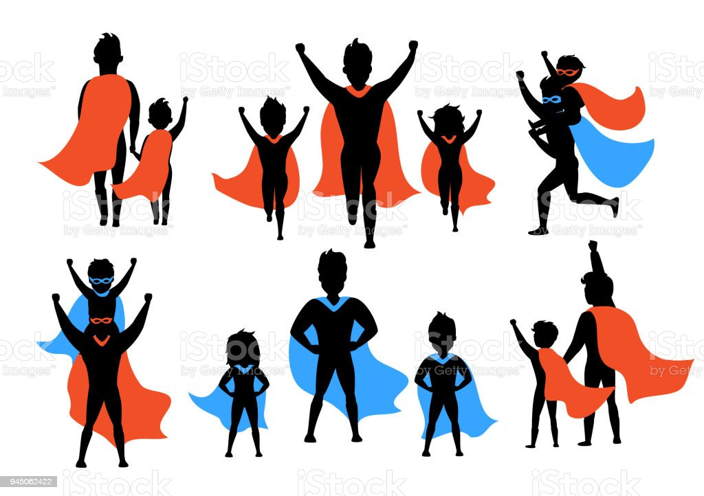 dad and kids, boy and girl playing superheroes silhouettes set vector art illustration