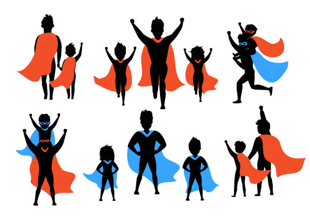dad and kids, boy and girl playing superheroes silhouettes set - father stock illustrations, clip art, cartoons, & icons