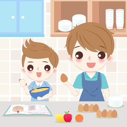 dad and son cooking