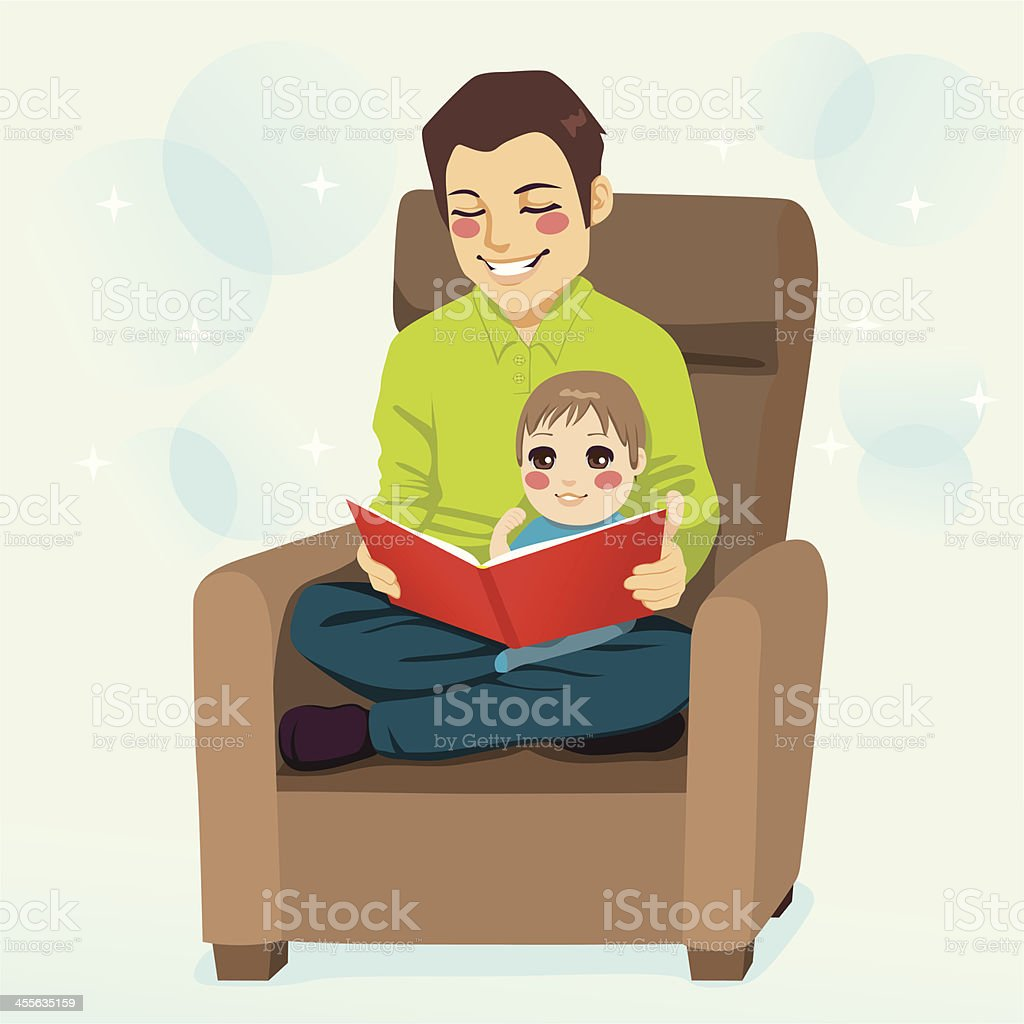 Dad and Son Reading royalty-free stock vector art
