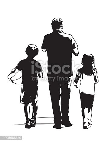 A father and his two children walking with a ball in hand
