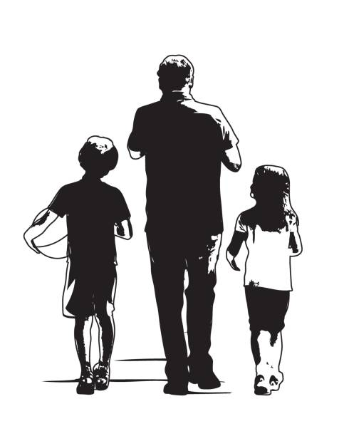 Dad and Two Kids Walking Away vector art illustration