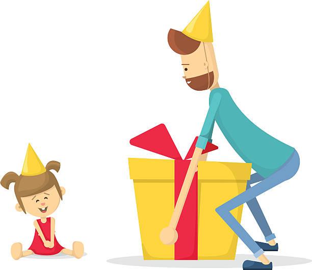 dad gives daughter a birthday gift. flat vector illustration - 娘点のイラスト素材/クリップアート素材/マンガ素材/アイコン素材