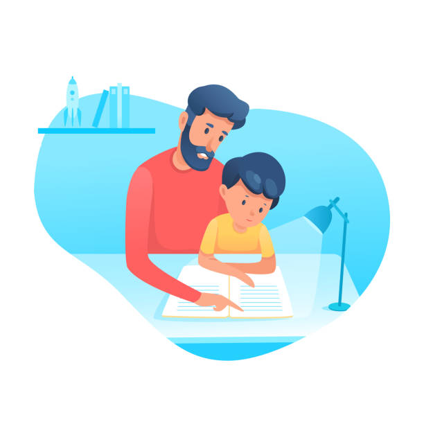 Dad helping son with homework flat illustration Dad helping son with homework flat illustration. Parenting, fatherhood vector illustration. Father educating kid isolated clipart. Family time. Parent teaching toddler reading design element book clipart stock illustrations